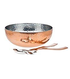 Godinger® Hammered Copper Salad Bowl with Serving Utensils
