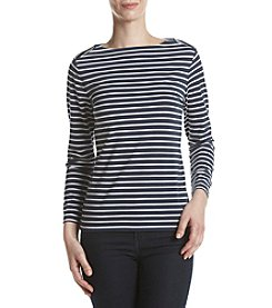 Anne Klein® Boat Neck Striped Top