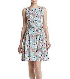 Anne Klein® Dot Printed Fit and Flare Dress