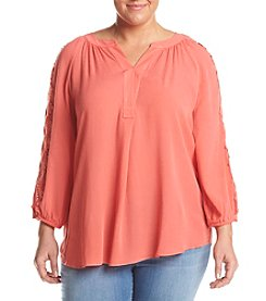 AGB® Plus Size Lace Trim Blouse
