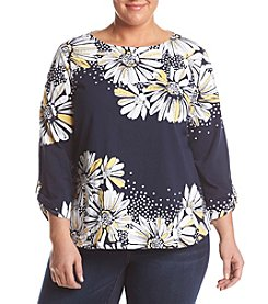 Alfred Dunner® Seas Knit Daisy Print Blouse