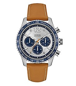 Guess Men's Silvertone And Blue Chrono Tan Leather Strap Watch