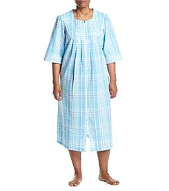 Miss Elaine® Plus Size Long Plaid Zip Robe