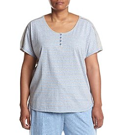 KN Karen Neuburger Plus Size Chambray Stripe Henley