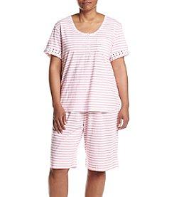 KN Karen Neuburger Plus Size Stripe Bermuda Pajama Set