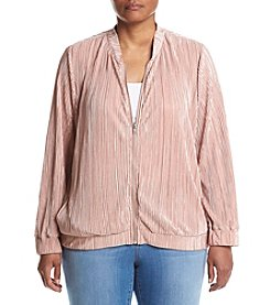 Hippie Laundry Plus Size Pleated Baseball Jacket