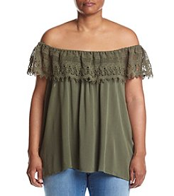 Hippie Laundry Plus Size Crochet Trim Off-Shoulder Top