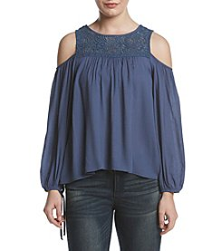 A. Byer Lace Yoke Cold-Shoulder Top
