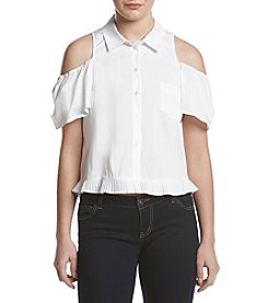 XOXO® Cold Shoulder Poplin Top