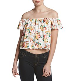 XOXO® Floral Off-Shoulder Pom Pom Top