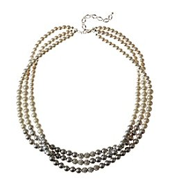 Studio Works® Three Row Cream And Grey Pearl With Fireball Necklace