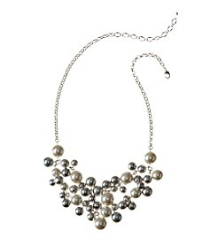 Studio Works® Shaky Frontal Cream And Grey Simulated Pearl Necklace