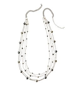 Studio Works® Multi Layered Cream And Grey Pearl With Chain Necklace