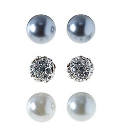 Studio Works® Trio Set Of Pearl And Fireball Stud Earrings