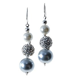 Studio Works® Cream And Grey Pearl With Fireball Drop Earring