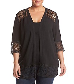 Studio Works® Plus Size Crepe Woven Lace Trim Open Cardigan