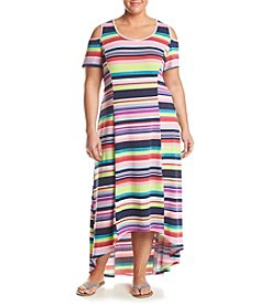 Relativity® Plus Size Striped Cold-Shoulder Maxi Dress