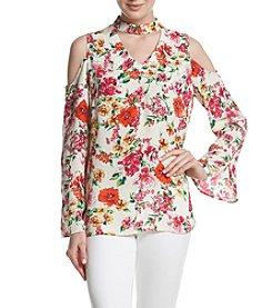 Relativity® Floral Cold-Shoulder Blouse