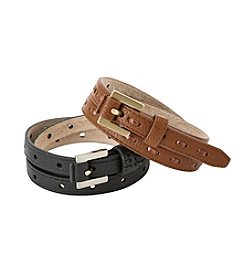 Fashion Focus Perforated And Lace Set Of 2 Belts