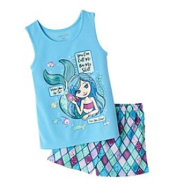 Komar Kids® Girls' 2-Piece Mermaid Shorts Pajama Set