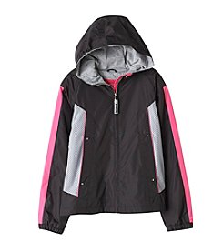 London Fog® Girls' 7-16 Spring Hooded Jacket With Mesh Insert