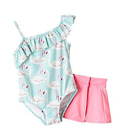 Carter's® Girls' 2T-6X 2-Piece Flamingo Swimsuit And Skirt Set