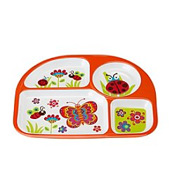 LivingQuarters Melamine 4-Section Plate In Butterfly Design