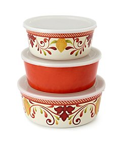 LivingQuarters Set of 3 Melamine Bowls With Lids