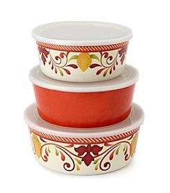 LivingQuarters Set of 3 Melamine Bowls With Lids