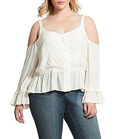 Jessica Simpson Plus Size Cold-Shoulder Peasant Top
