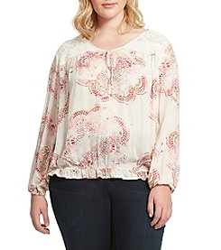Jessica Simpson Plus Size Henna Dream Peasant Top