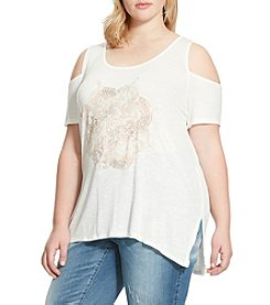 Jessica Simpson Plus Size Graphic Cold Shoulder Tee
