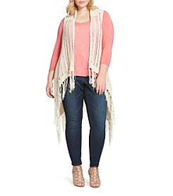 Jessica Simpson Plus Size Fringe Sweater Vest
