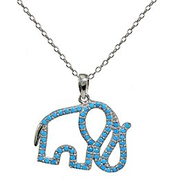 Designs by FMC Sterling Silver Created Turquoise Elephant Pendant