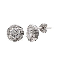 Willow Sterling Silver Cubic Zirconia Stud Earrings