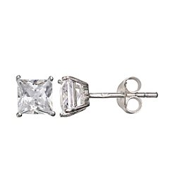 Willow Princess Cut Cubic Zirconia Stud Earrings