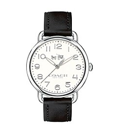 COACH WOMEN'S DELANCEY 36mm STAINLESS STEEL SUNRAY DIAL LEATHER STRAP WATCH