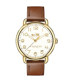 COACH WOMEN'S DELANCEY GOLDTONE SUNRAY DIAL LEATHER STRAP WATCH