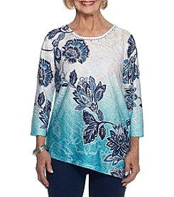 Alfred Dunner® Diagonal Batik Floral Knit Top