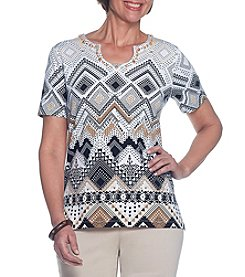 Alfred Dunner® Print Border Knit Tee