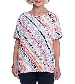 Alfred Dunner® Diagonal Stripe Knit Tee