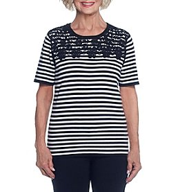 Alfred Dunner® Stripe Lace Yoke Sweater
