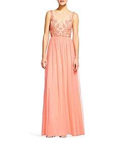 Adrianna Papell® Beaded Bodice Tulle Skirt Dress
