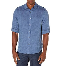Perry Ellis® Men's Linen Button Down Roll Tab Shirt