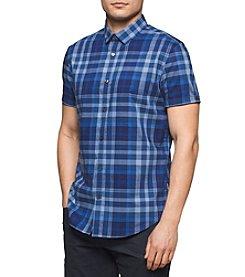 Calvin Klein Men's Short Sleeve Bar Plaid Button Down