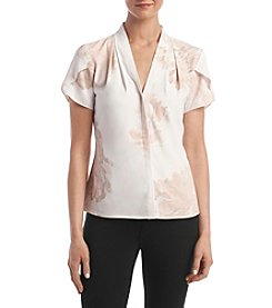 Calvin Klein Blush Short Sleeve Flutter Blouse