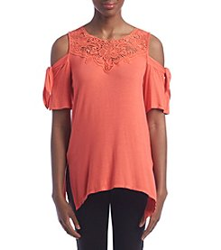 AGB® Crochet Lace Cold Shoulder Top