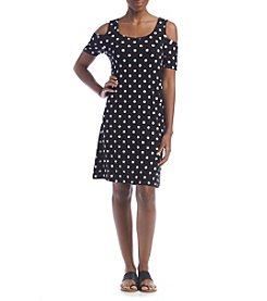 A. Moon Cold Shoulder Dot Printed Dress