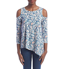Fever™ Printed Cold Shoulder Top