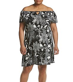 Relativity® Plus Size Off Shoulder Printed Dress